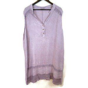 Alessia Pacini Lavender Embroidered Linen Dress
